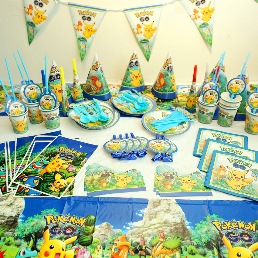 New Pokemon Party Supplies For Children Birthday Party 119pcs/lot Party Supplies Of Table Cloth Cups Forks Napkins