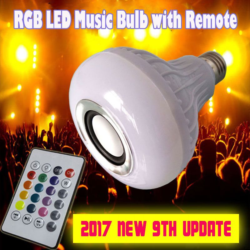 Lampada Com Som E27 12W AC100V-240V Led Music Bulb Lamp with Sound Wireless Bluetooth Speaker Remote Control Playing Dimmable цены онлайн