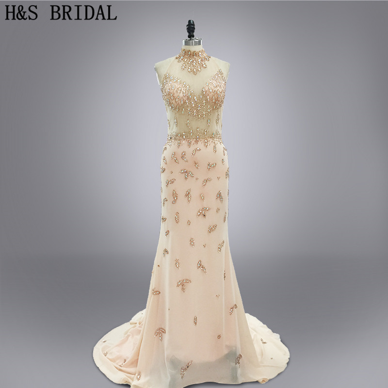 Real photo 2017 Custom made Vestidos party gown champagne color high neck luxury beaded see through backless evening dresses