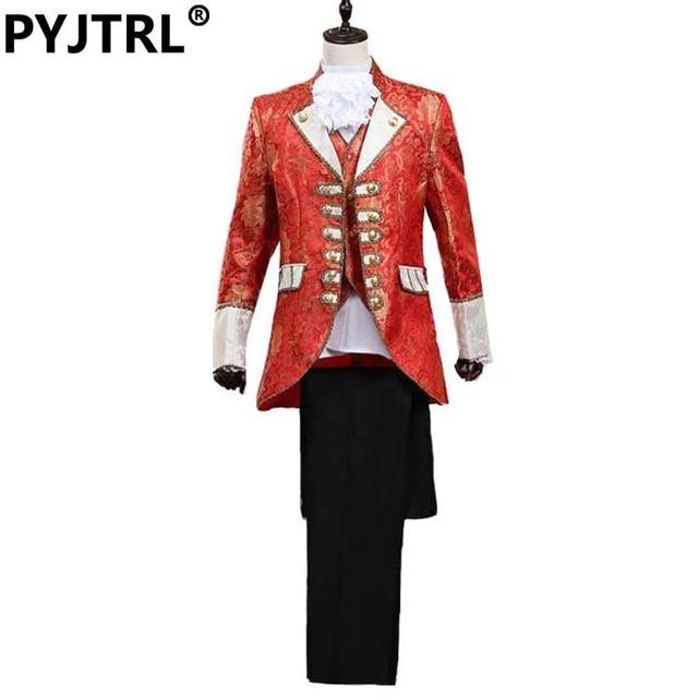 Men's European Court Dress Band Marshal Clothing Wedding Suits For Men (Jacket + Pants + Vest + Collar Flower + Wrist Flower)