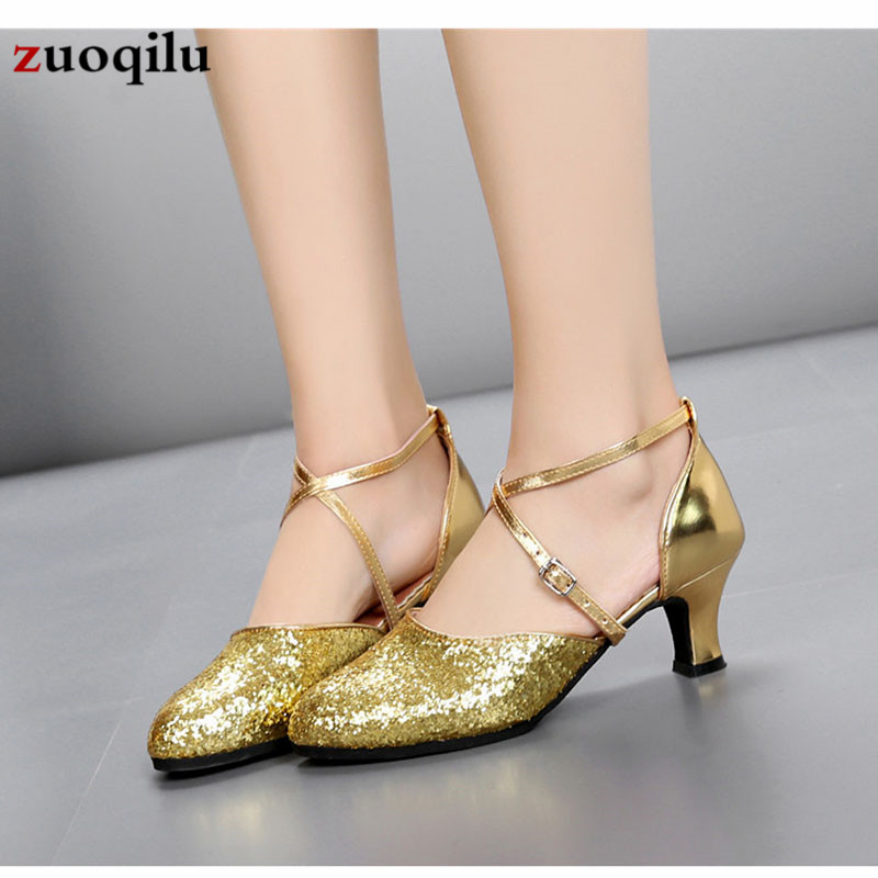 2019 Gold Silver Low Heel Shoes Woman Wedding Shoes Women Pumps High Heels Cross-tied Ladies Shoes zapatos mujer tacon basic pump