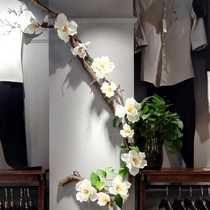 vine Artificial Magnolia flower cane fake flower branches wedding flower wreath string magnolia silk flowers Wedding Decoration in Artificial Dried Flowers from Home Garden