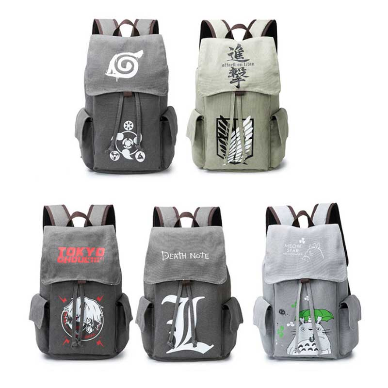 Anime Naturo Totoro Attack on Titan Tokyo Ghoul Death Note Cosplay Backpack Large Capacity Travel School Book Bag Rucksack