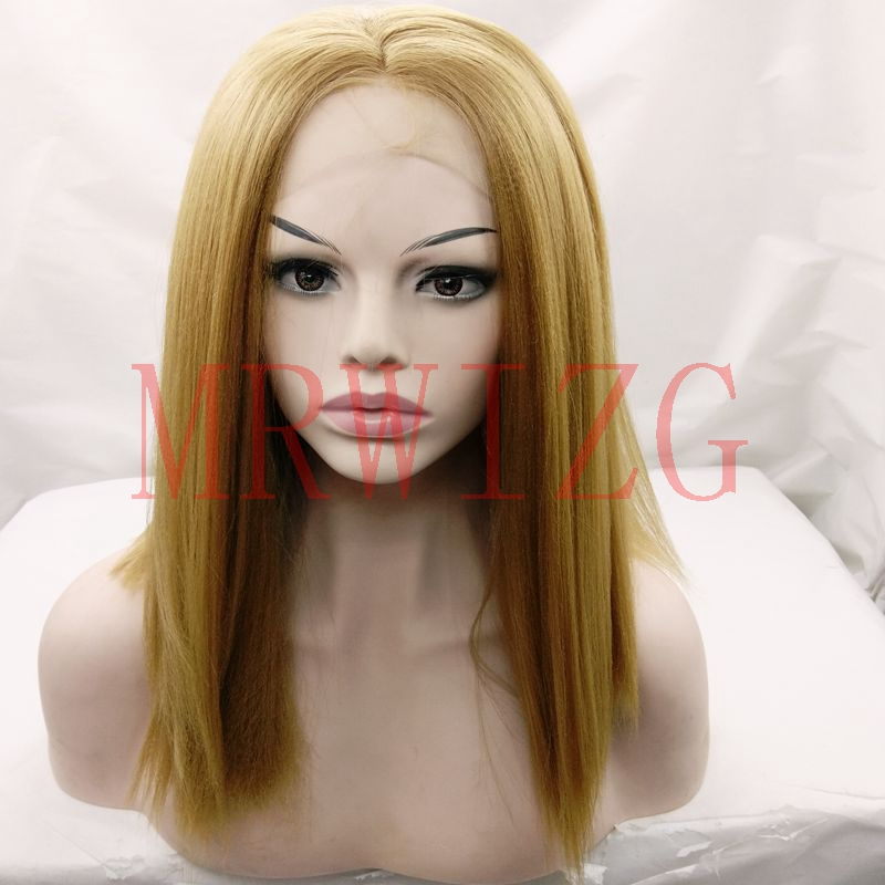 MRWIG #27 blonde synthetic heat resistant fiber glueless front lace wig 14inch real hair yaki/kinky straight middle part