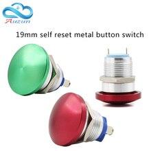 19 mm metal mushroom head start self-reset button switch often open red green welding foot screw current 5A