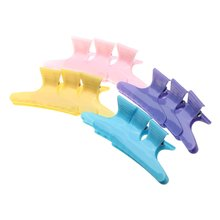 JEYL Hot 12x Hair Clip Colorful Hairdressing Tool Butterfly Plastic Hair Claw Hair accessories for Women Simple Hair Crab Clamp