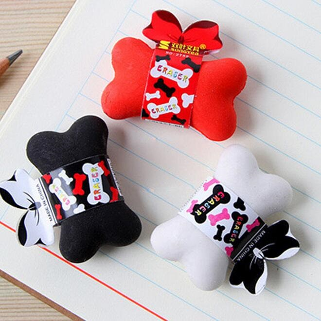 24pcs/lot Cute  Bone Design Eraser Funny Students' Gift Kids's Puzzle Toy Office School Stationery