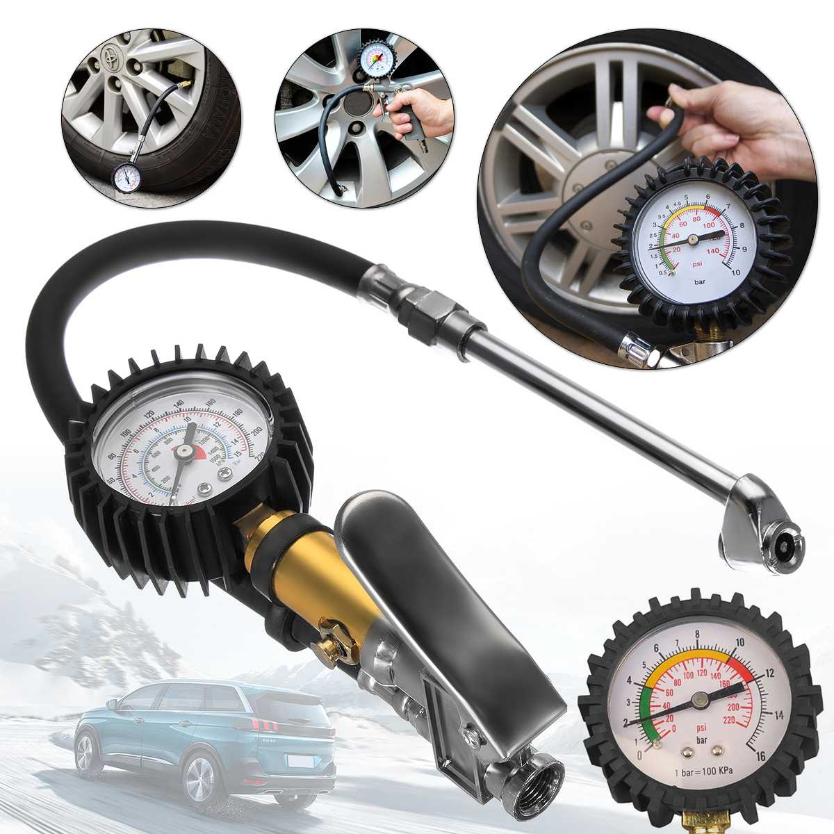Tyre Air Inflator Dial Pressure Meter Gauge Air Line Tyre Pump Pressure Dual Air ChuckTester For Car Truck Cycles Dinghies