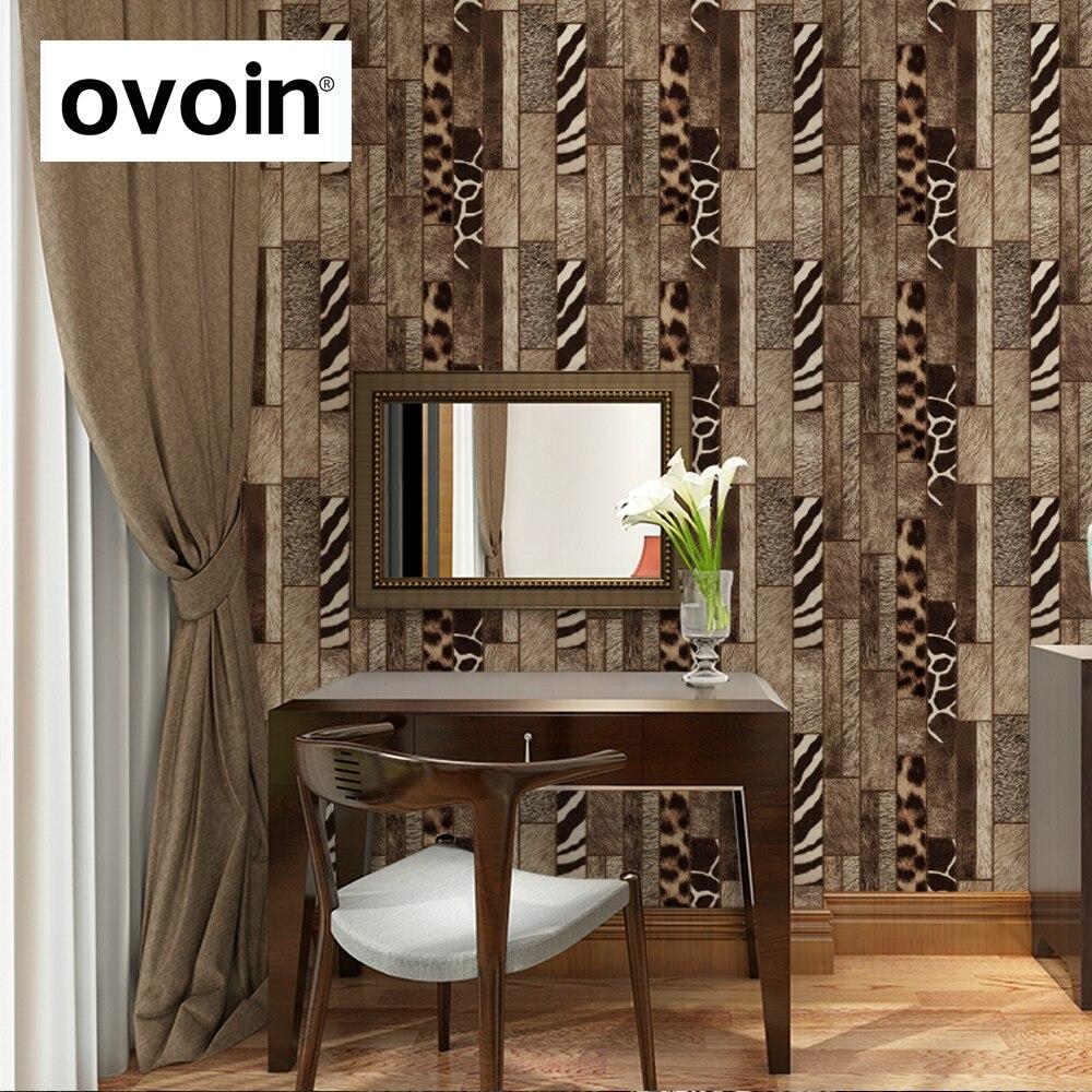 Retro faux animal skin pattern wallpaper roll fur leather for Fur wallpaper room