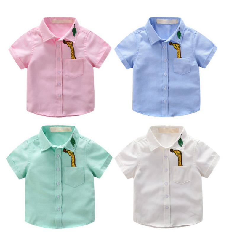 2-10Y Child Baby Boy Girls Turn-Down Collar Cartoon Pocket Shirt Fashion Casual Tops Kids Summer Cotton Polyester New Tee Shirt pocket front shirt dress