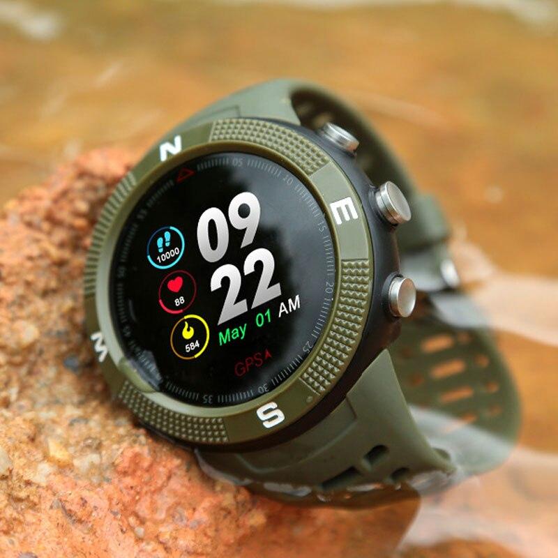 F18 GPS extérieur positionnement sport Smartwatch IP68 étanche boussole montre appel Message rappel fréquence cardiaque BT 4.2 montre intelligente