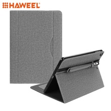 Haweel Tablet Cloth Pattern PU Case for iPad 9.7 inch (2018) (2017) (2016) / Air 2 with Card Slot & Pen Groove Accessories