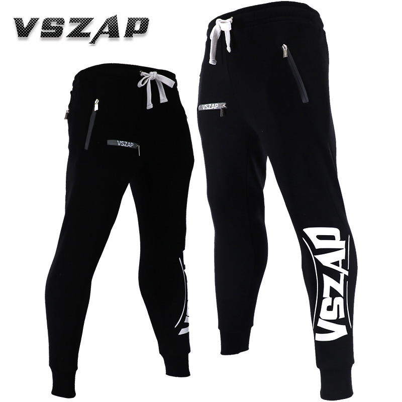 VSZAP 2018 Men Fitness Sports Plus Velvet Trousers Men MMA Fighting Pants Loose Training Running Autumn And Winter Leisure Pants