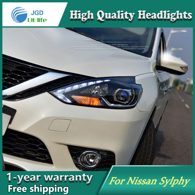 Car Styling Head Lamp case for Nissan Sylphy Headlight 2016 Sentra LED Headlight DRL H7 D2H Hid Option Angel Eye Bi Xenon Beam hireno headlamp for 2016 hyundai elantra headlight assembly led drl angel lens double beam hid xenon 2pcs
