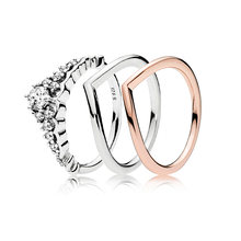 3 Style New Silver Charms Ring Diy Rose Gold Radiant Love Crystal Simple Design Fashion Wedding Rings For Women Jewelry(China)
