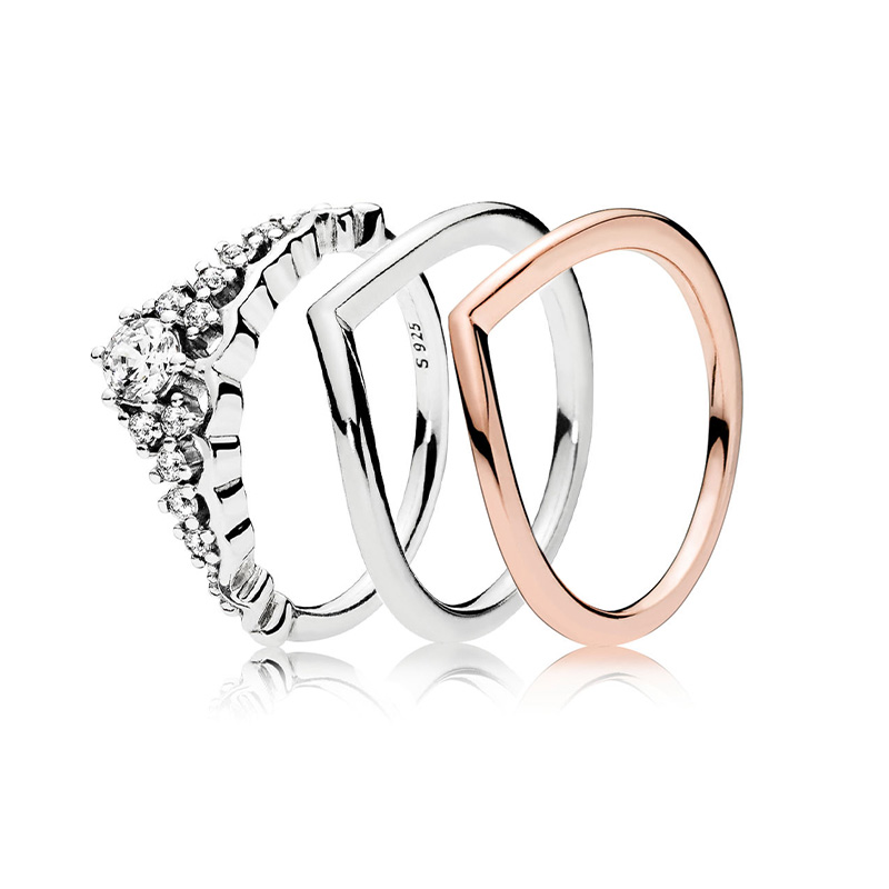 925 Sterling Silver Ring Charms Diy Rose Gold Radiant Love Crystal Simple Design Fashion Wedding Rings For Women 925 Jewelry