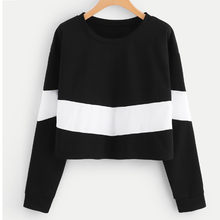 Feitong New Design Female sweatshirt black Long Sleeve Splicing Round Neck Girl Sweatshirt Blouse cropped sweatshirt women(China)