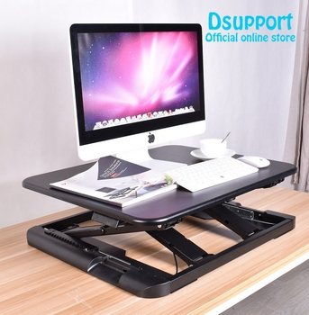 New Supter thin EasyUp Height Adjustable Sit Stand Desk Riser Foldable Laptop Desk Stand Notebook/Monitor Holder Stand LD04 giantex height adjustable standing desk converter sit stand computer laptop workstation modern wood furniture hw57064