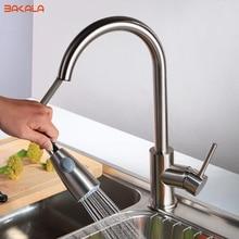 BAKALA Neueste herausziehen Spray Küchenarmatur Mischbatterie nickel gebürstet einzigen hand küche mischbatterie messing LH-8105