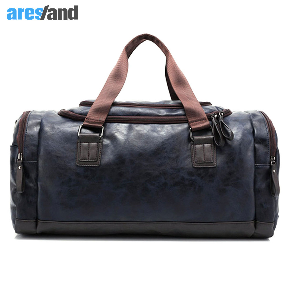 Men's PU Leather Sports Bag Duffel Tote Handbags Travel Bag for Gym Fitness Male Bag Man Women Camping Brown Black Coffee Blue temena large capacity outdoor sports bag for men new brand pu tote duffel bag multifunction travel sports gym fitness bag ac12