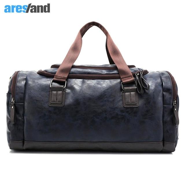 1099fcefd3be Men s PU Leather Sports Bag Duffel Tote Handbags Travel Bag for Gym Fitness  Male Bag Man
