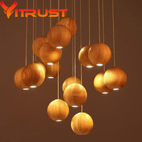 Nordic creative wood pendant lamp light fashion wooden chandelier for dining room linving room simple wooden lamp