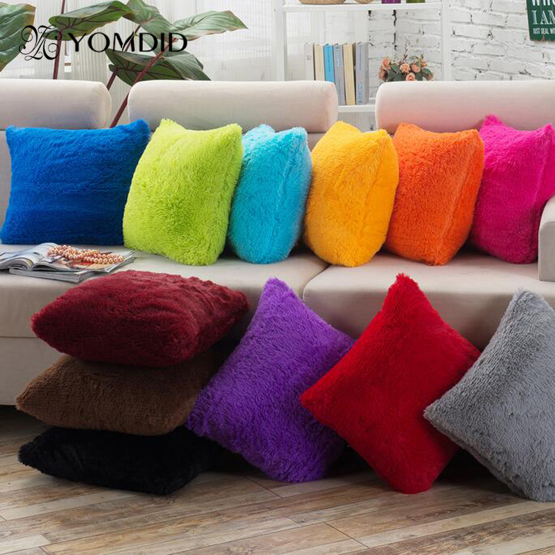 Pillow Covers Solid Colors Fluff Soft Material Home Decor Funda Cojines Decorativos Cushion Covers 43*43cm