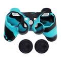 Dual-Color Ultra Suave Piel de Silicona Caso Protector de Shell + 2x Joystick Pulgar Palo Apretones Tapas para Dualshock 3 Controlador de PS3