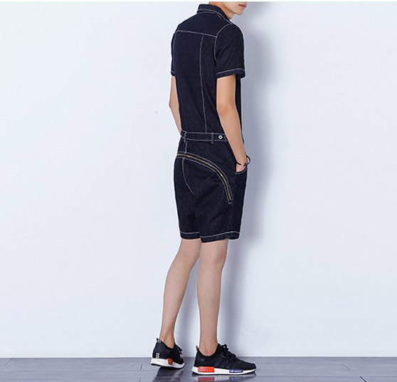 5996000c11e8 Summer new men rompers harem shorts men zipper fashion casual denim shorts  jeans jumpsuits slim fit shorts overalls -in Casual Shorts from Men s  Clothing on ...