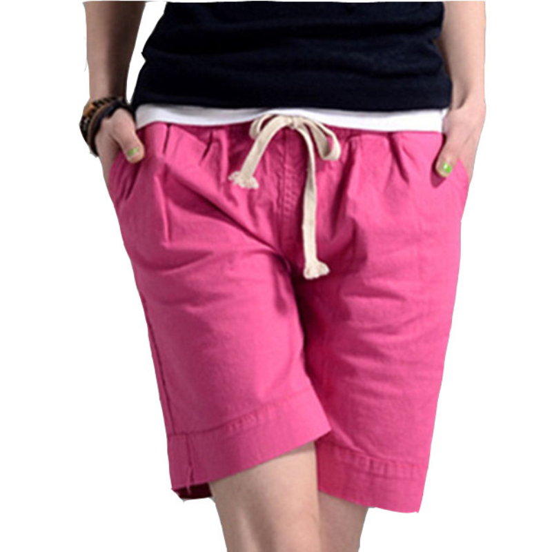 2018 Women Hot   Short   Fashion Women's Linen   Shorts   Candy Color Casual   Shorts   PT058