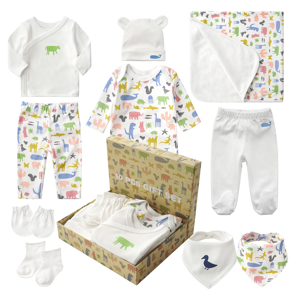 10pcs Baby Products Boy And Girls Full Moon Fashion Sets Spring And Autumn Baby Best Gift Newborn-baby-clothes Unisex Set Cotton cotton 10 piece sets newborn clothes gift box spring and autumn new born baby suit mother and baby full moon kids gift clothes