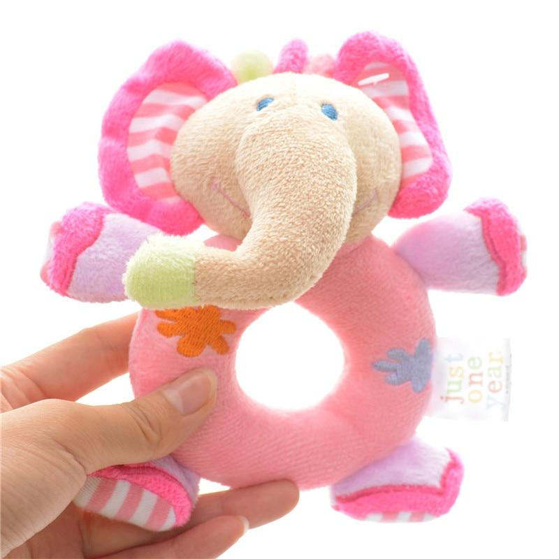 Just One Year Plush Blue Elephant Baby Take Along Ring Dolls Toys Infant Kids Baby Rattles Developmental Training Toys 6*4' New