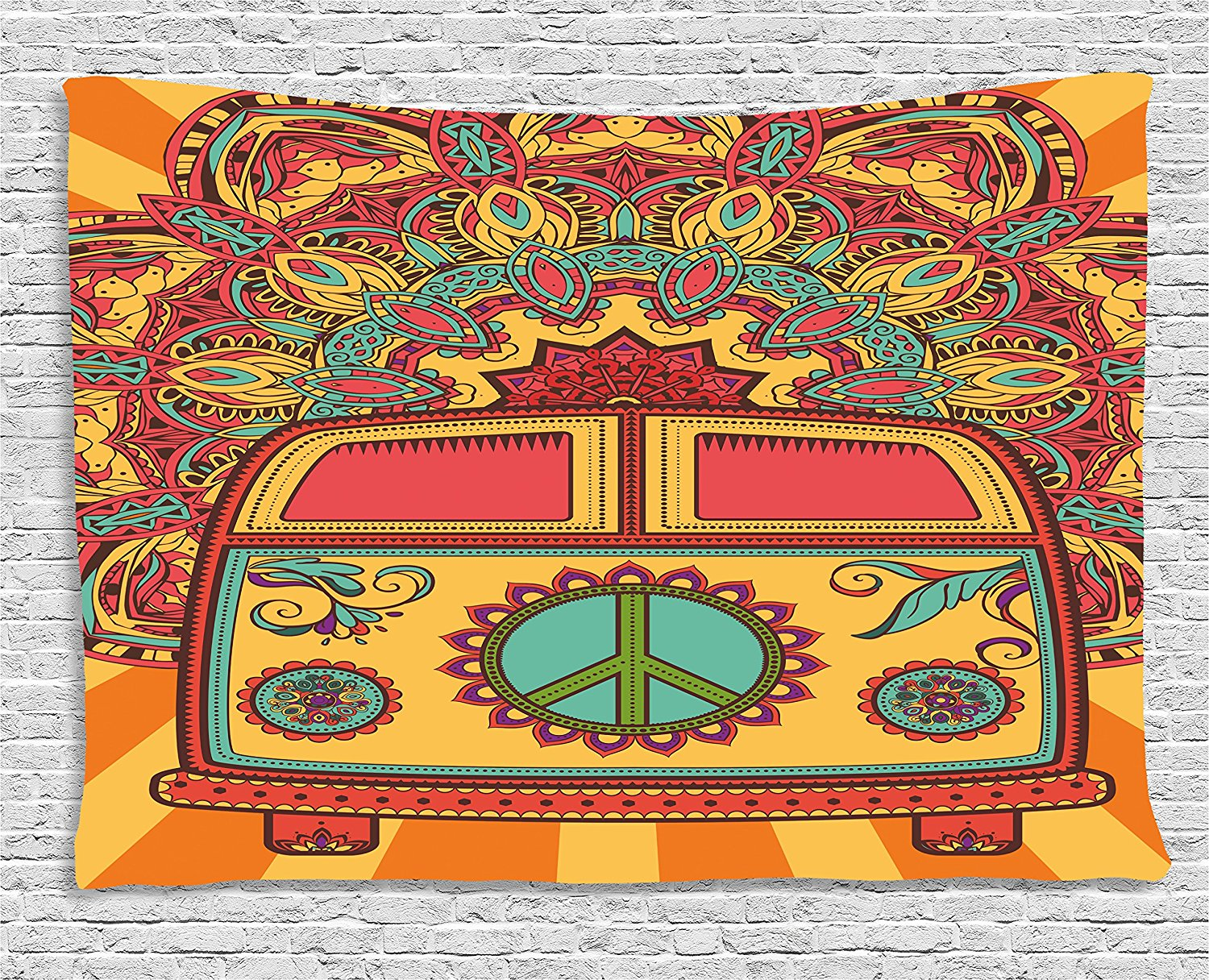 70s Hippie Peace Sign Birthday Banner Party Decoration Backdrop