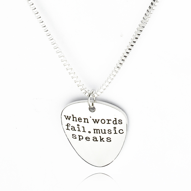 Hand Stamped Jewelry When Words Fail Music Speaks Silver Letter Necklace Guitar Pick Collier Femme Jewelry Collier Anime