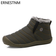 ERNESTNM Laarzen Vrouwen 2019 Winter Warm Pluche Enkel Platte Botas Mode Waterdicht Doek Snowboots Plus Size 11 Zapatos De mujer(China)