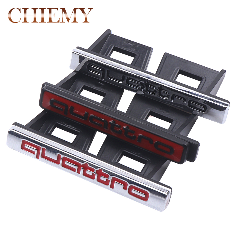 3D Metal Quattro Front Hood Grille Emblem Badge Sticker For Audi A1 A3 A4 B6 B7 B8 A5 A6 C5 C6 A7 Q3 Q5 Q7 TT Car Styling 1pcs 3d metal s5 car front grille adhesive emblem badge stickers accessories styling for audi a5 s5