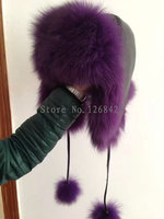 Free Shipping Natural Fox Fur Leather Top Lei Feng S Hat Ear Muff Hat Warm Winter