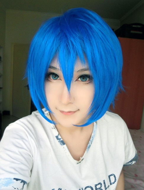 MCOSER Wholesale Price Vocaloid Kaito High Quality 13 Inches Bright Blue Cosplay Carnival Wig