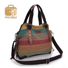 Woman Patchwork Handbag Canvas Shopper Bag Women Shoulder Bags Messenger Tote Canvas Striped Women Hand Bags Vintage Casual Bag