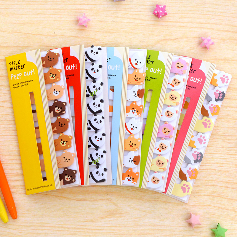 Mini Lovely Kawaii Cartoon Animals Panda Cat Memo Pad Sticky Notes Memo Notebook Stationery School Supplies Note Paper Stickers