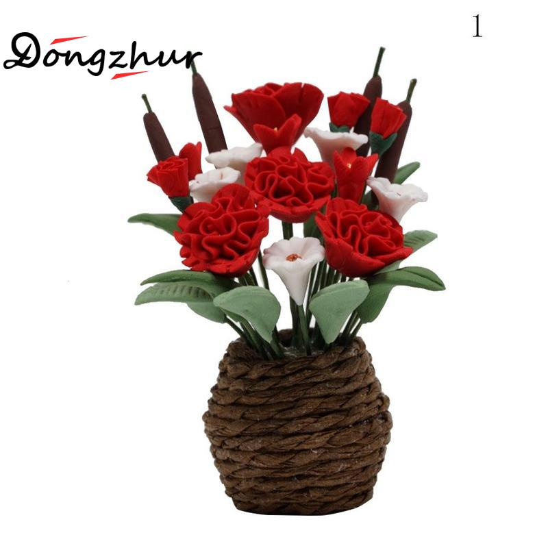 Red Rose Clay Flower Ceramic Pot Dollhouse Miniature Tiny Handmade