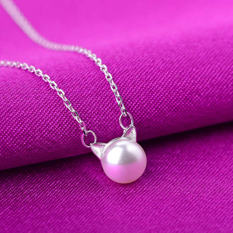925 Sterling Silver Jewelry Pearl Cat Link Chain Necklace For Women collares kolye bijoux femme Choker Necklace DZ761