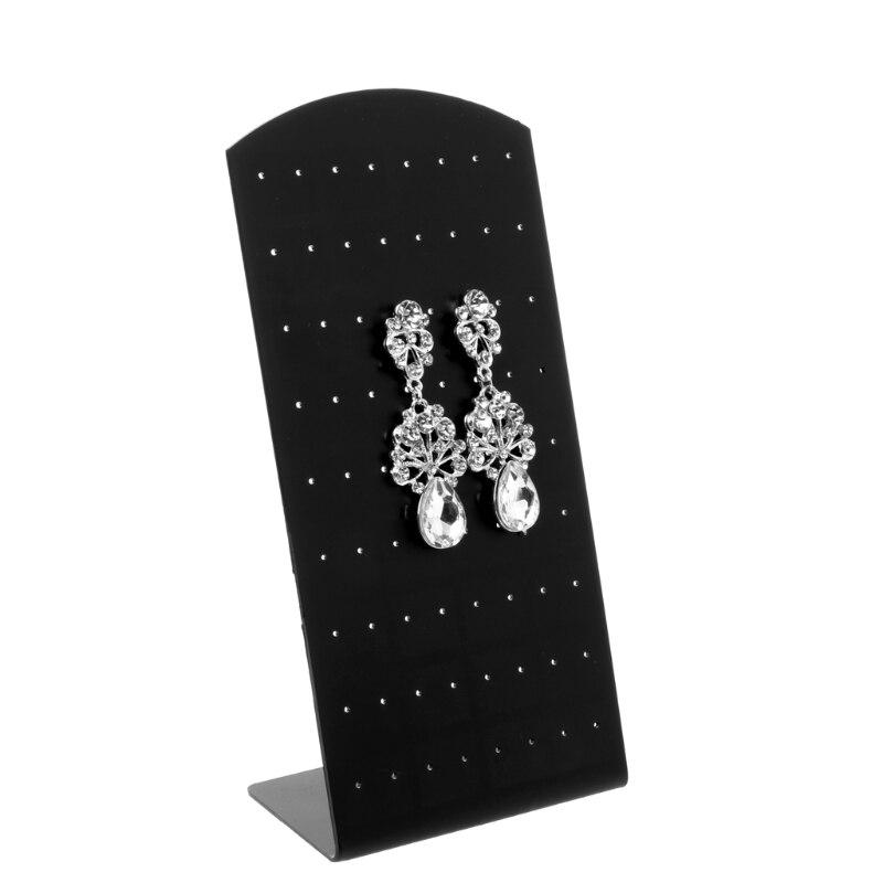 72 Holes Plastic Earring Ear Stud Jewelry Display Rack Stand Organizer Holder 19cmx9cm Black