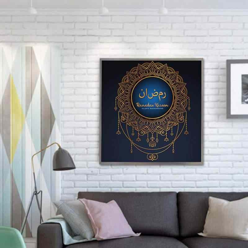 Musulmano Eid Mubarak Calligrafia Su Tela Senza Cornice Pittura A Olio della Tela di canapa di Arte Della Parete Acrilico Dipinti Complementi Arredo Casa Per Soggiorno