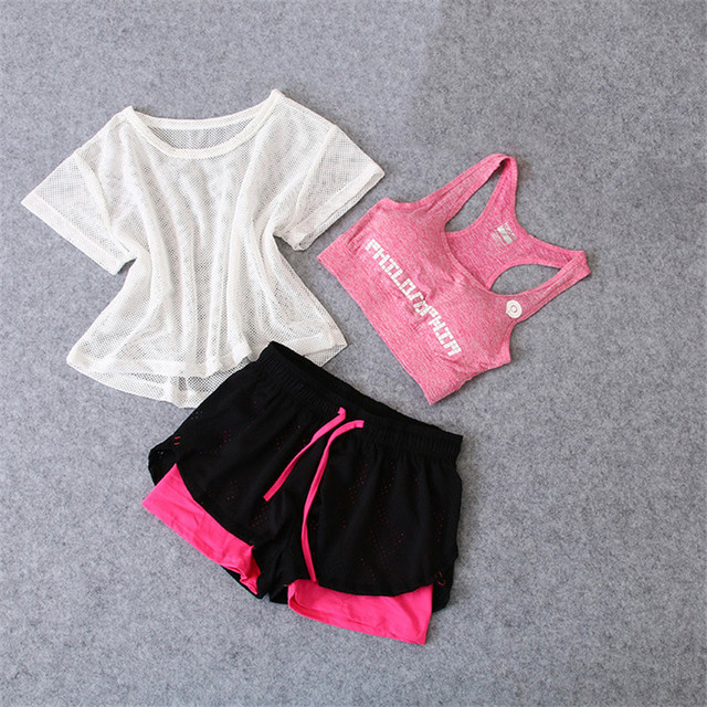 3 PCS סט נשים של חליפת יוגה כושר בגדי ספורט לנשים אימון ספורט בגדי ספורט ריצה יוגה חליפת סטים