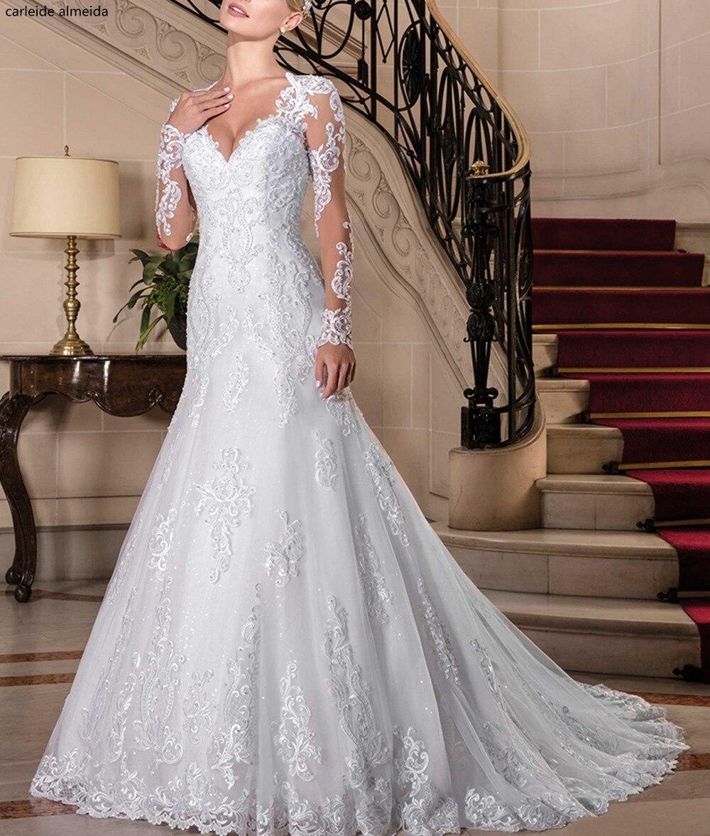Vestido De Noiva Long Sleeves Mermaid Wedding Dress Unique Lace Pearls Bride Dress 2018 Trouwjurk Chapel Train Abiti Da Sposa