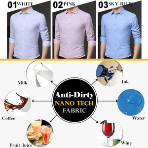 Image 5 - Men Waterproof Anti Dirty Free ironing Business Shirts Hydrophobic Stainproof Antifouling Quick Dry Top Long Sleeve Shirt M 5XL