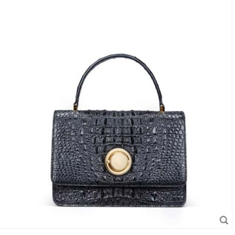 gete 2019 new  Thai crocodile leather bag for ladies bag cross body  single shoulder bag handbag small square bag flap
