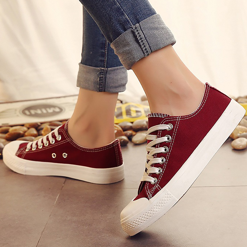 Fashion women shoes spring/autumn 2018 trendy candy colors girls sneakers canvas shoes flats damen schuhe size 35-40