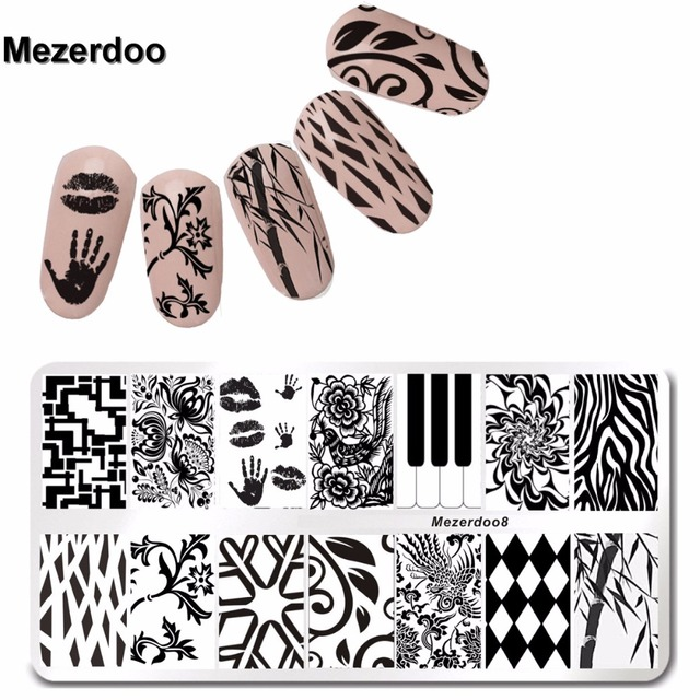 Palm Kiss Design Nail Stamping Finger Plates DIY Image Nail Art ...